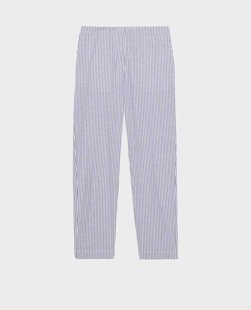 Pantalon MARGUERITE, 7/8e cigarette en coton seersucker Str navy Nyokeasy