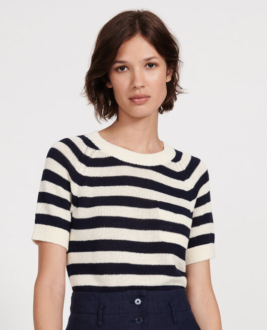 Pull rayé en maille STRIPES MARITIME BLUE BUTTERCREAM