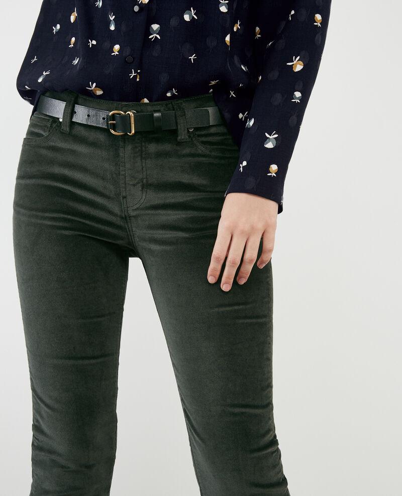 Pantalon cigarette en velours stretch Deep green Decharpe
