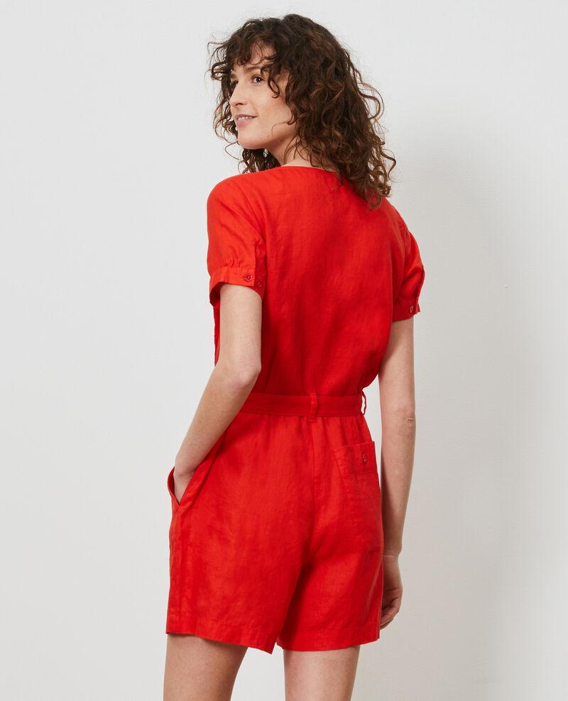 Combinaison short en lin Fiery red Lariona