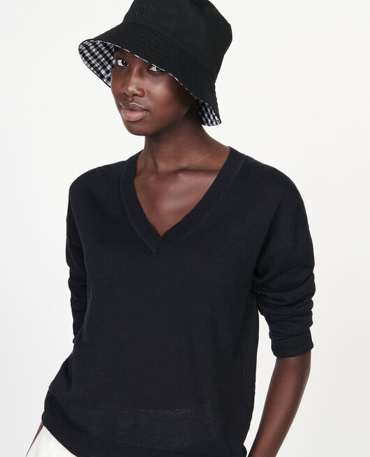 Pull col  V en lin et coton BLACK BEAUTY