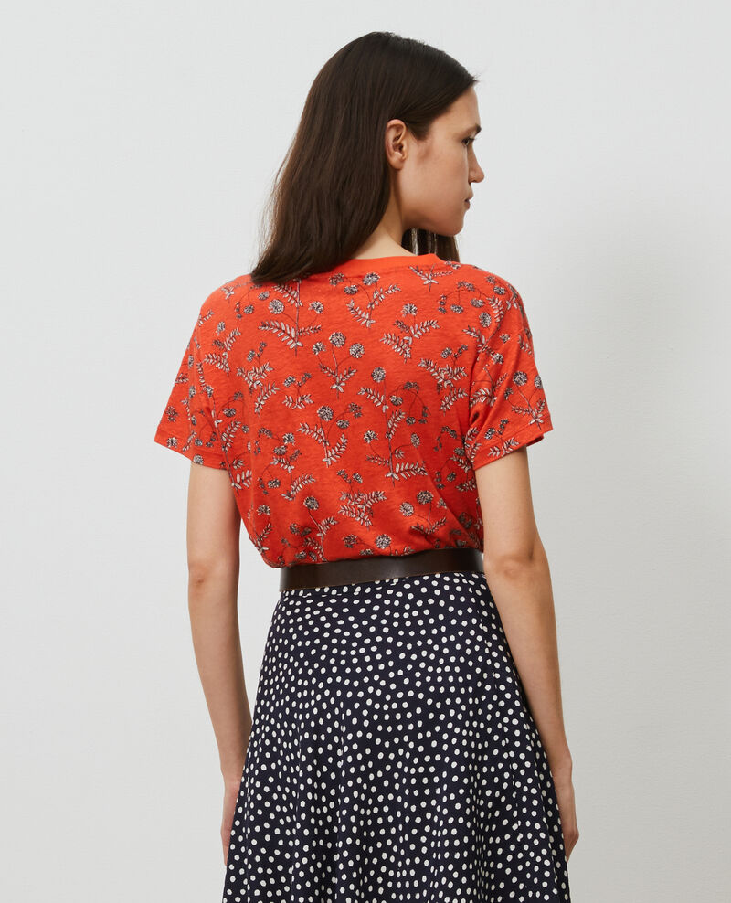 T-shirt col V en lin Coronille spicy Nayeli