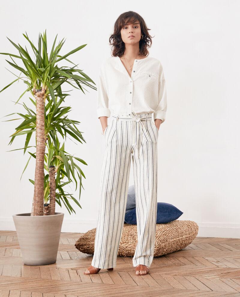 af14f68c3 Pantalon large rayé Off white/navy stripes