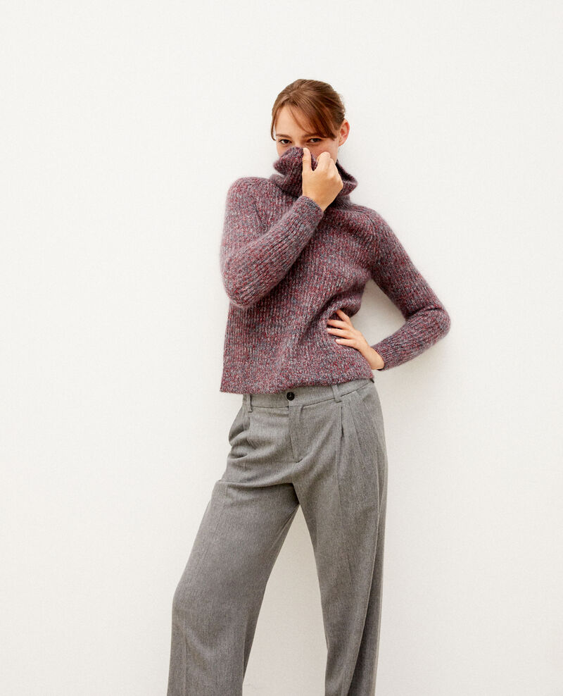 Pull col roulé avec mohair Rio red/ever green/off white Gummy