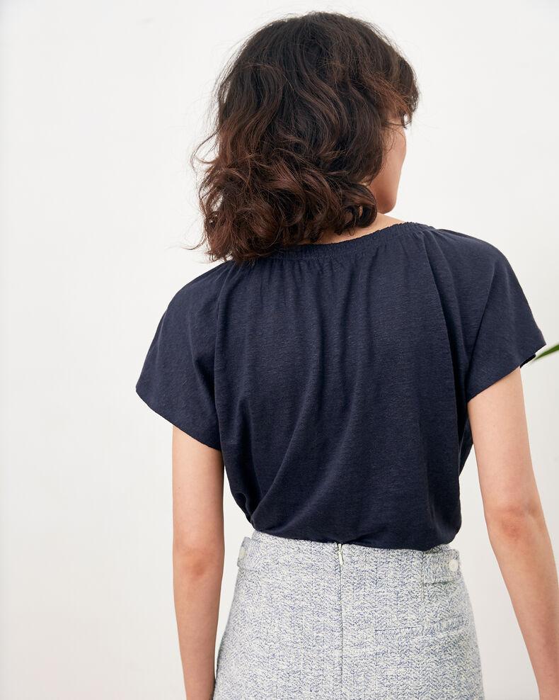 T-shirt en lin Navy Flabi