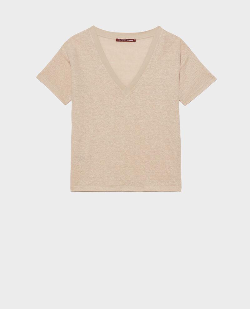 T-shirt col V en lin Oxford tan Locmelar