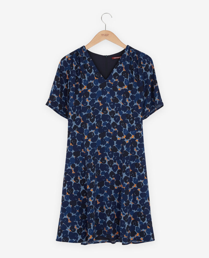 Robe col V Blossom shadow indigo Fositive