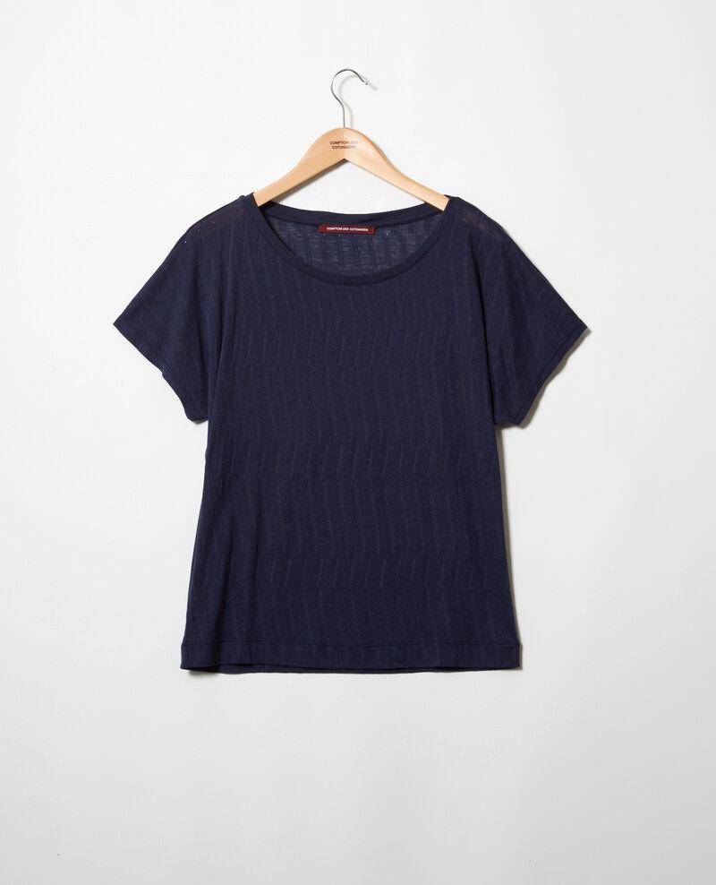 T-shirt au toucher doux Dark navy Ivoire