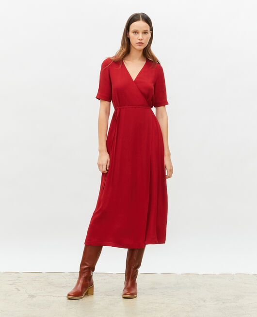 Robe portefeuille longue en viscose ROYALE RED