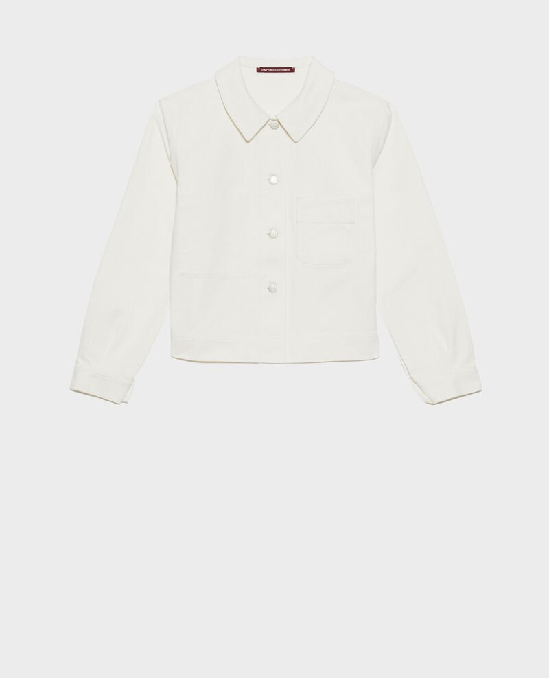 Veste courte en coton Optical white Nana