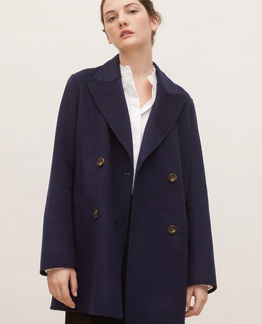 Manteau caban en lainage double face MARITIME BLUE