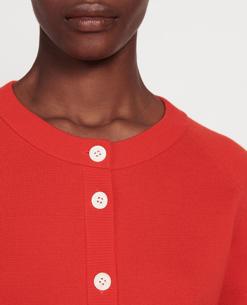 Cardigan col rond 100% laine Fiery red Louvres
