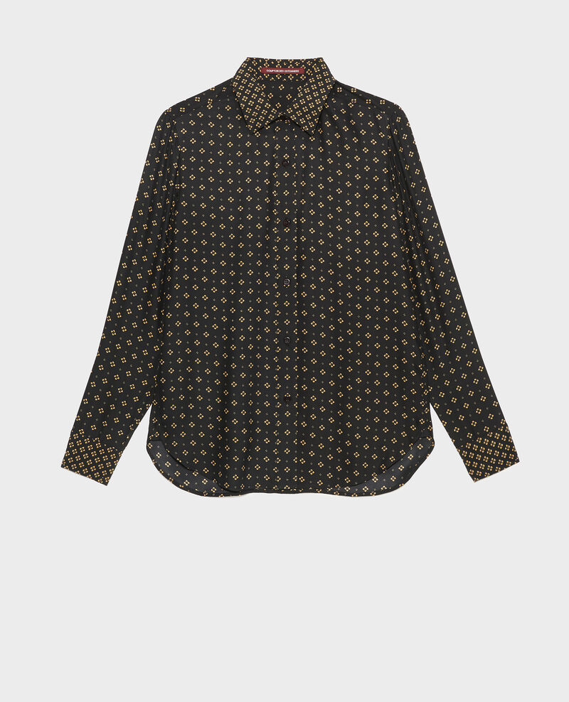 Chemise d'homme en soie manches longues Print mosaique black Morigesa