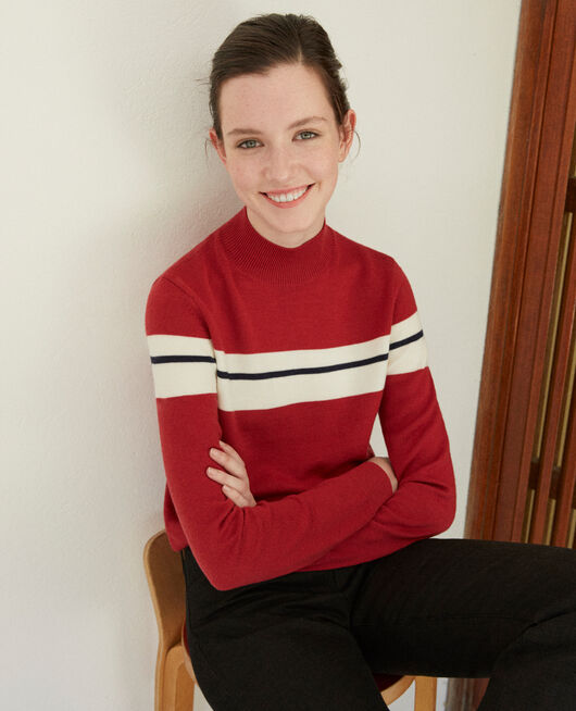 Pull en laine mérinos RIO RED/OFF WHITE/PEACOAT