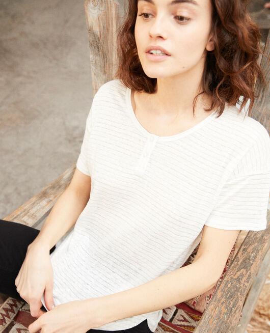 T-shirt brillant avec du lin OFF WHITE