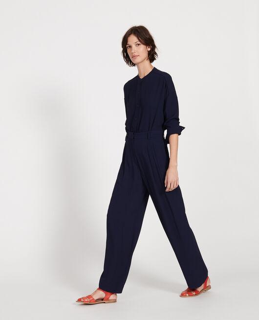 Pantalon large et fluide à plis en viscose MARITIME BLUE