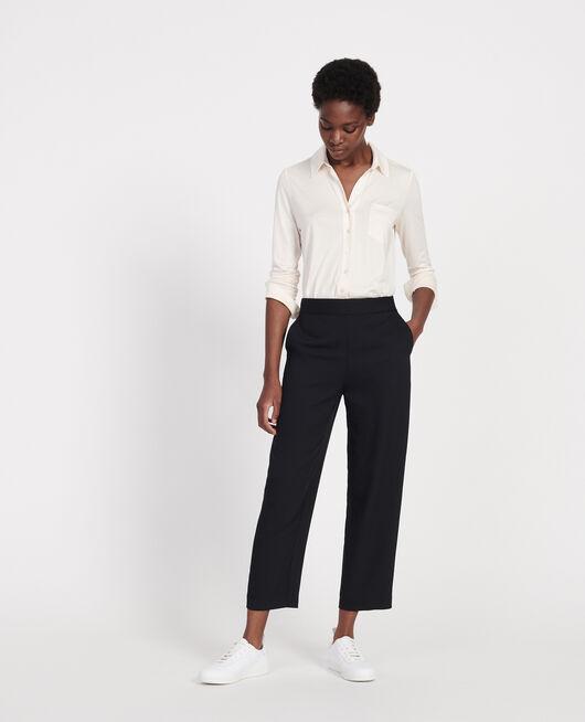 Pantalon fluide élastiqué en polyester BLACK BEAUTY