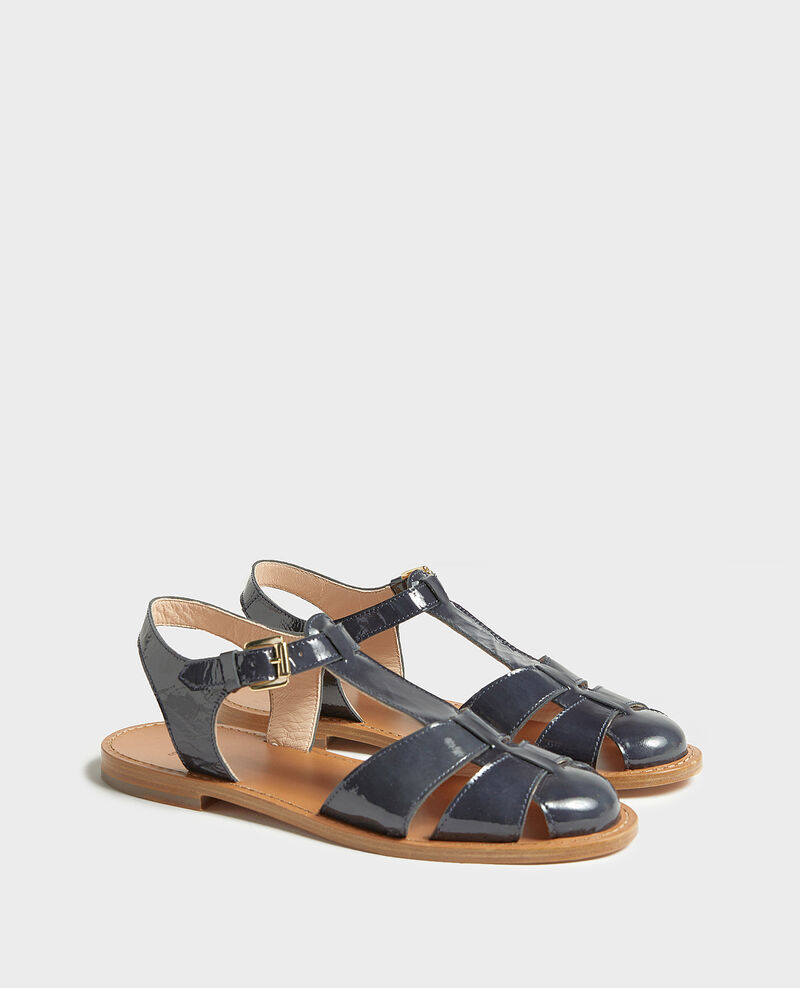 Sandales en cuir vernis Maritime blue Lapiaz