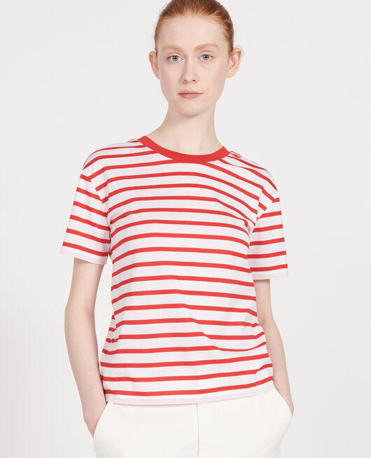 T-shirt en coton égyptien STRIPES OPTICAL WHITE FIERY RED