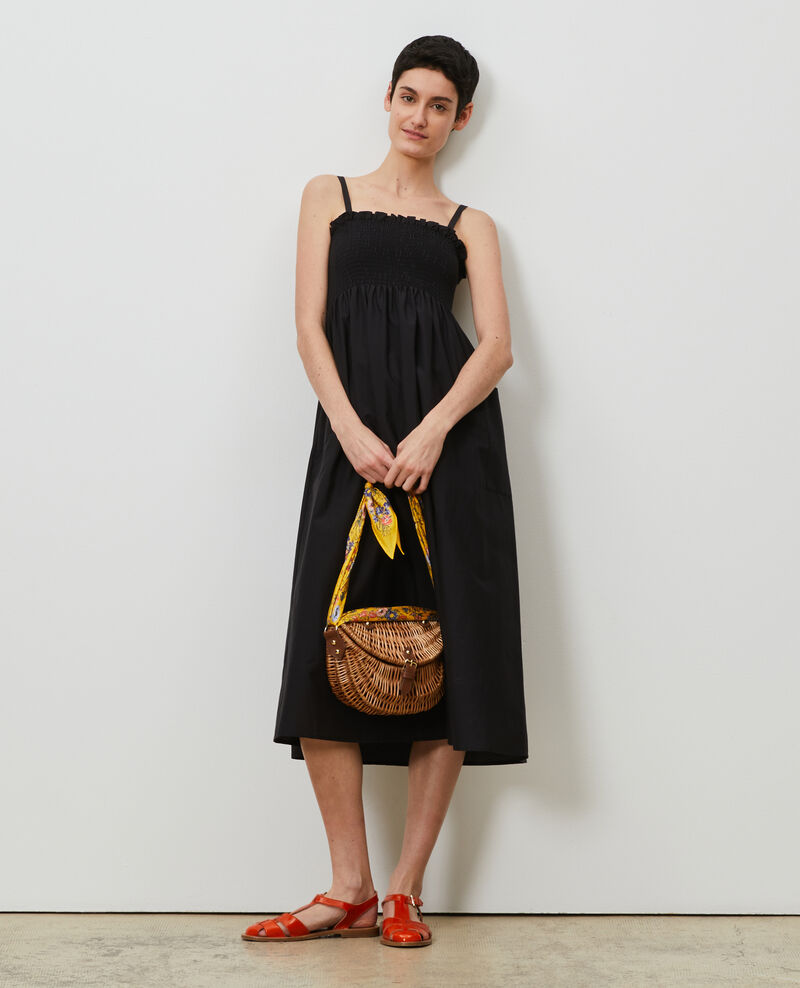 Robe longue en coton et soie Black beauty Nassandrou