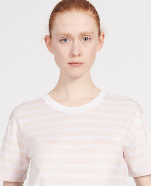 T-shirt en coton Egyptien STRIPES PRIMROSE PINK OPTICAL WHITE