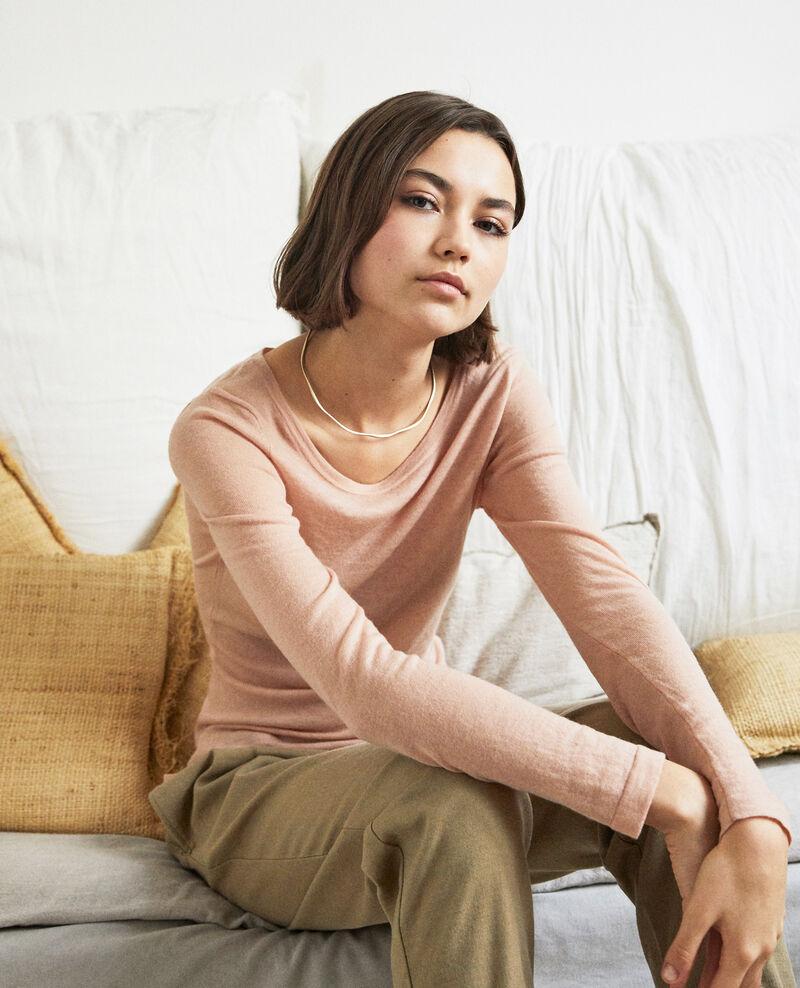Pull fin en laine col rond Pink beige Idouard