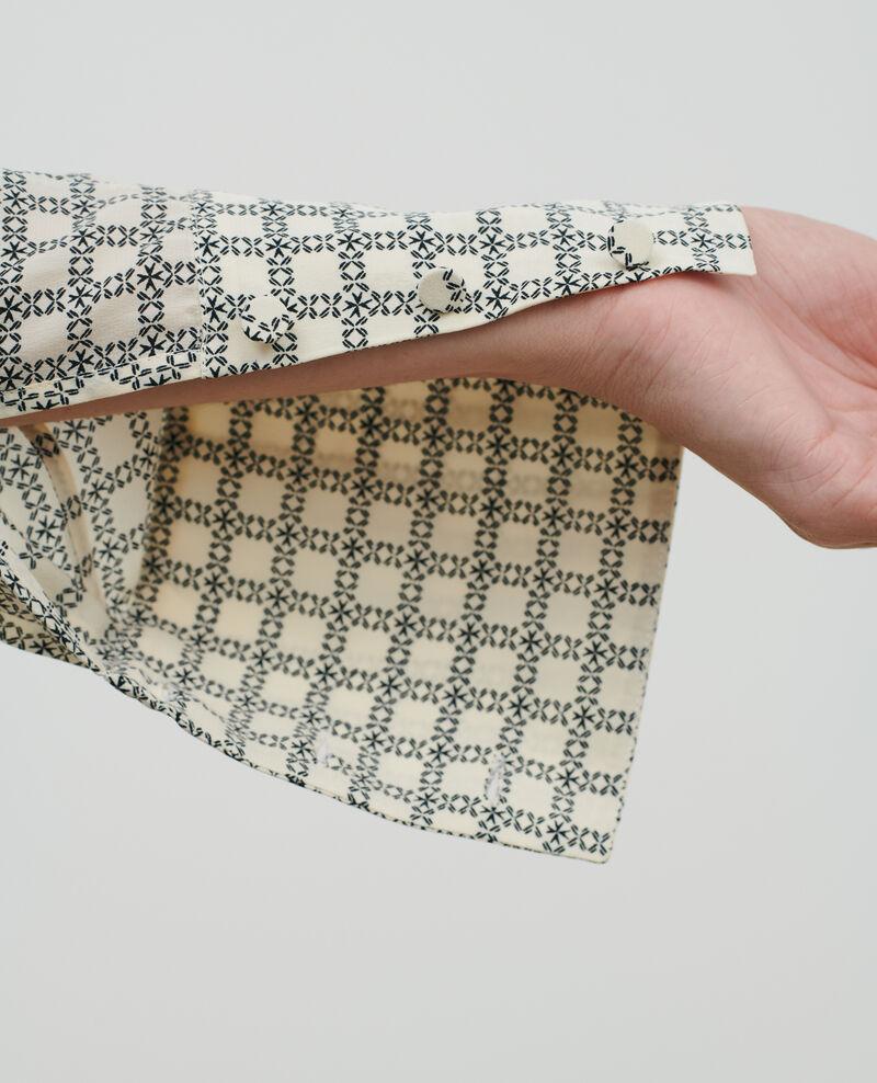 Haut en soie imprimée Check ecru Pabus