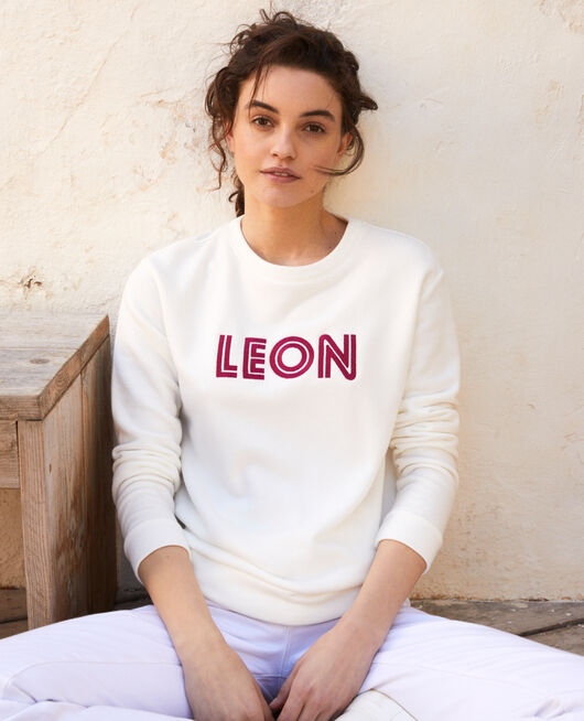 Sweatshirt brodé Léon OW/FUSHIA
