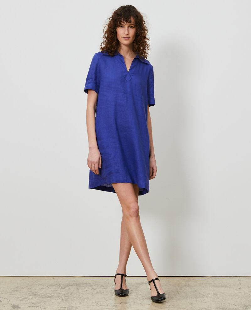Robe vareuse en lin Royal blue Noailles