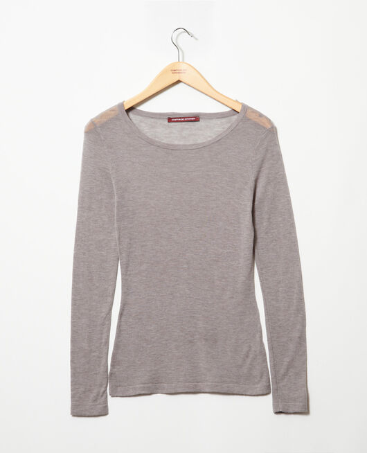 Pull fin en laine col rond HEATHER LIGHT GREY
