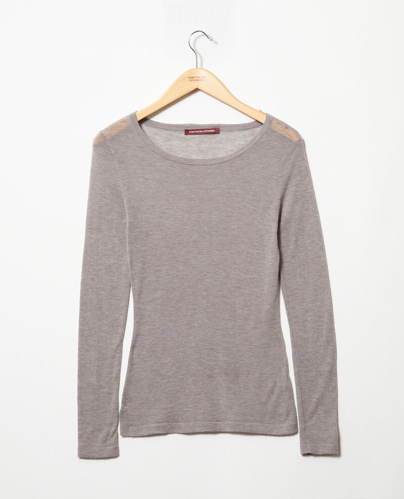 Pull fin en laine col rond Heather light grey Idouard