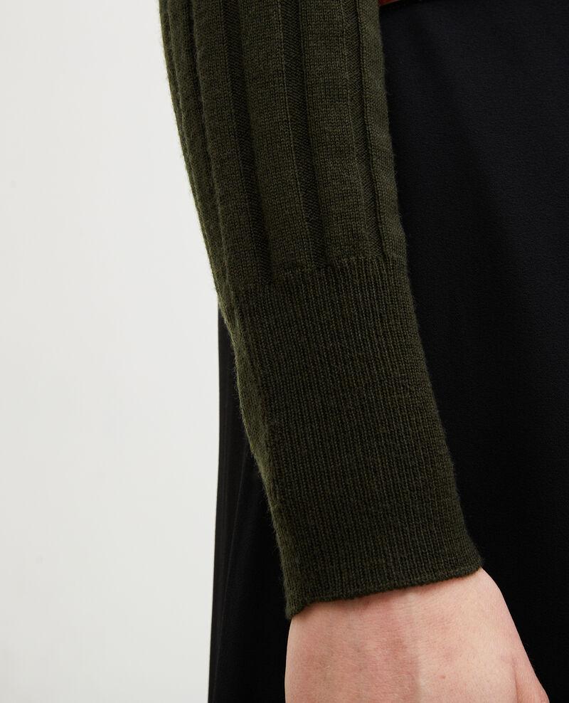 Pull côtelé col cheminée laine mérinos Military green Mulie