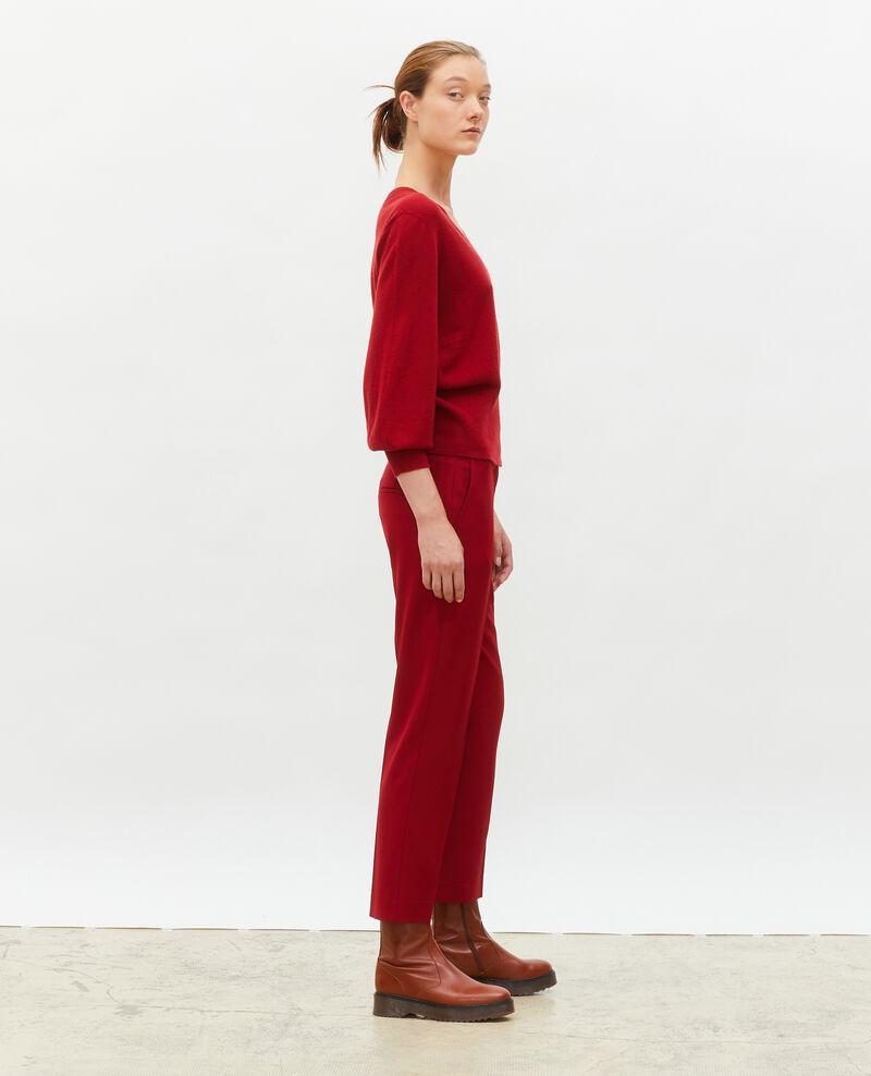 Pantalon MARGUERITE, 7/8e cigarette en laine Royale red Moko