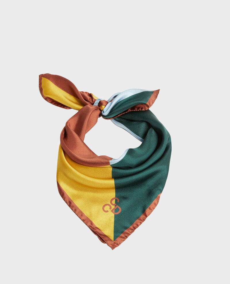 Foulard carré de soie multicolore Lemon curry Massana