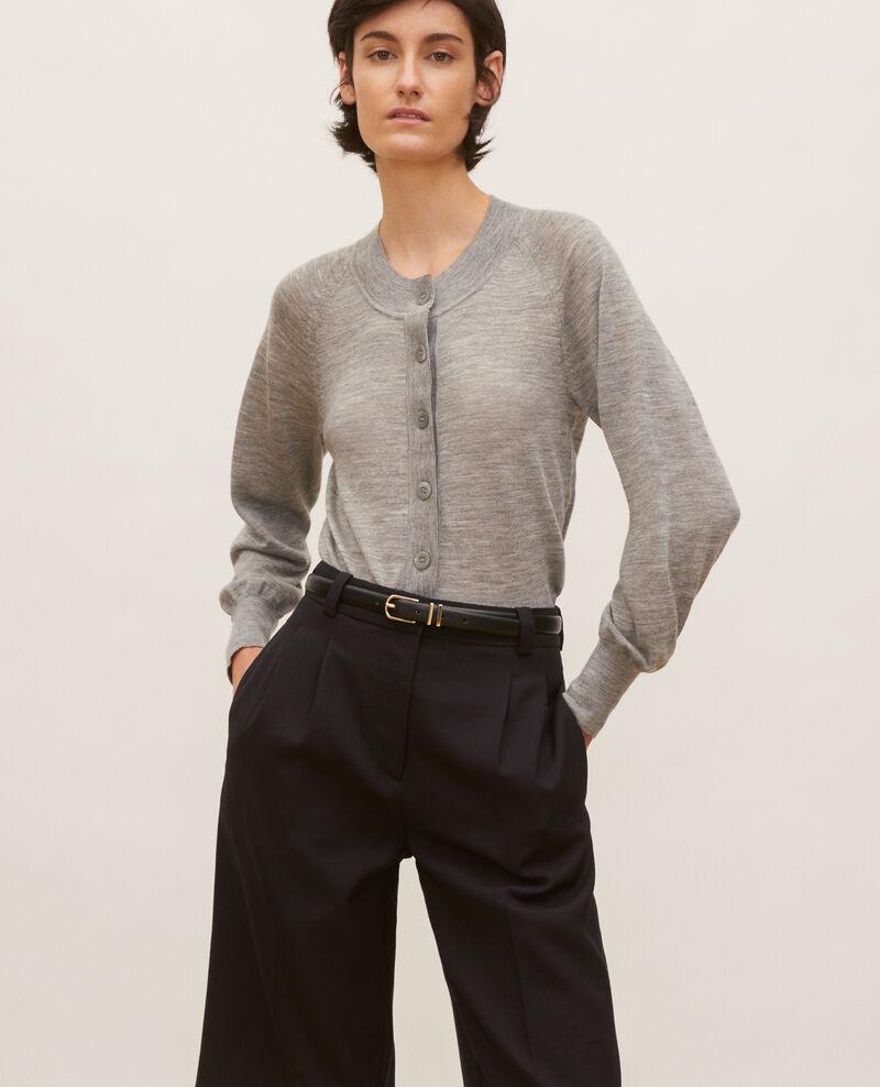 Cardigan en laine mérinos à col rond Light grey melange Molinot