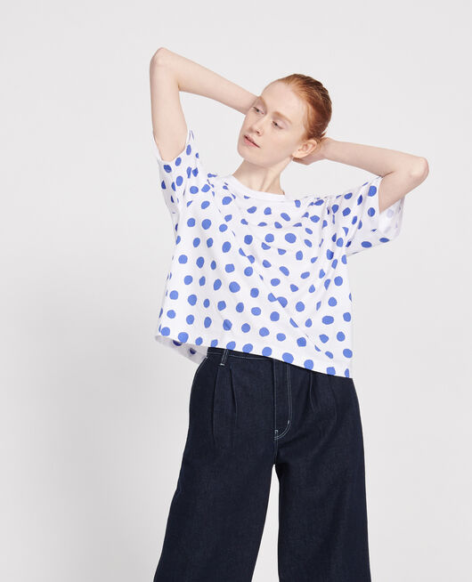 T-shirt boxy DOTS AMPARO BLUE