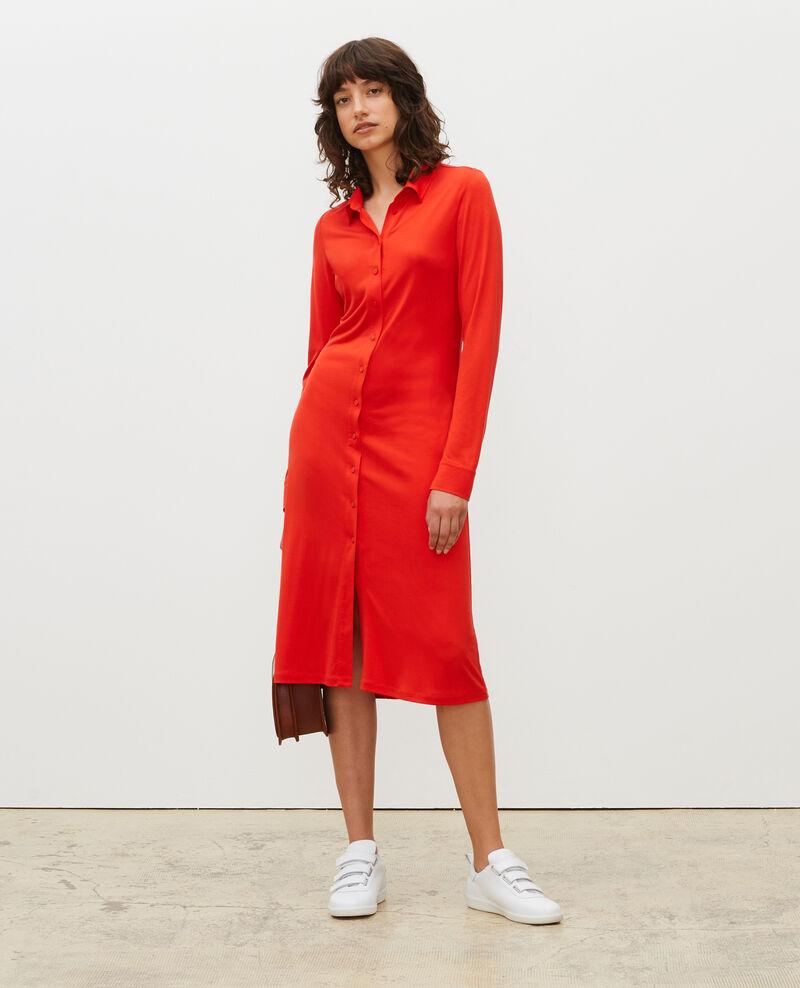 Robe chemise en jersey de soie Fiery red Lulia