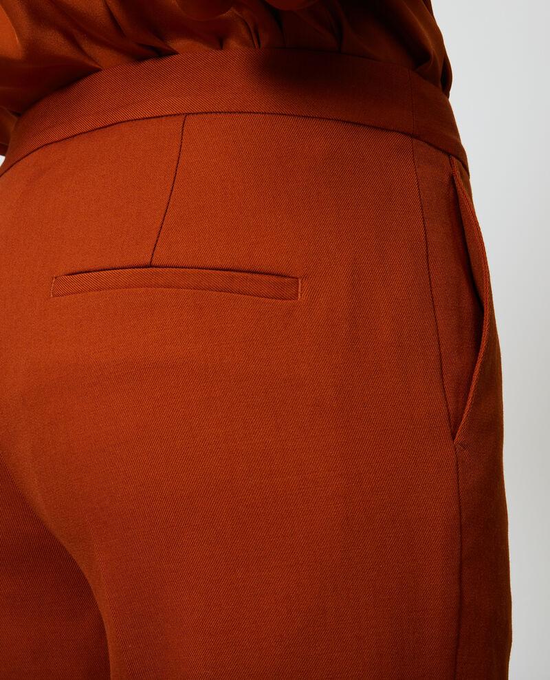 Pantalon MARGUERITE, 7/8e cigarette en laine Umber Noko