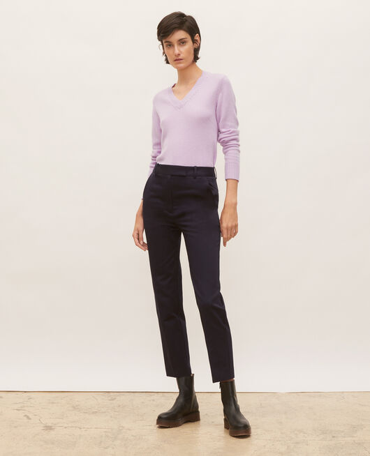 Pantalon chino 7/8e fuselé en coton NIGHT SKY