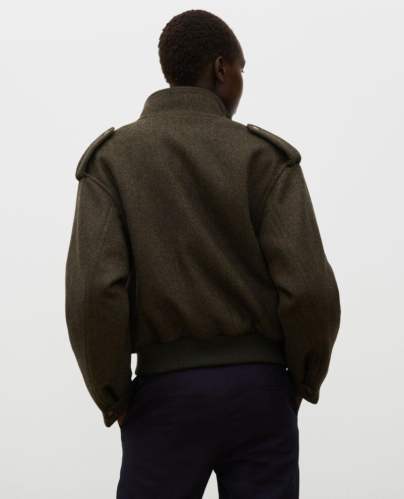 Blouson aviateur en tweed de laine chevrons Military green Maucora