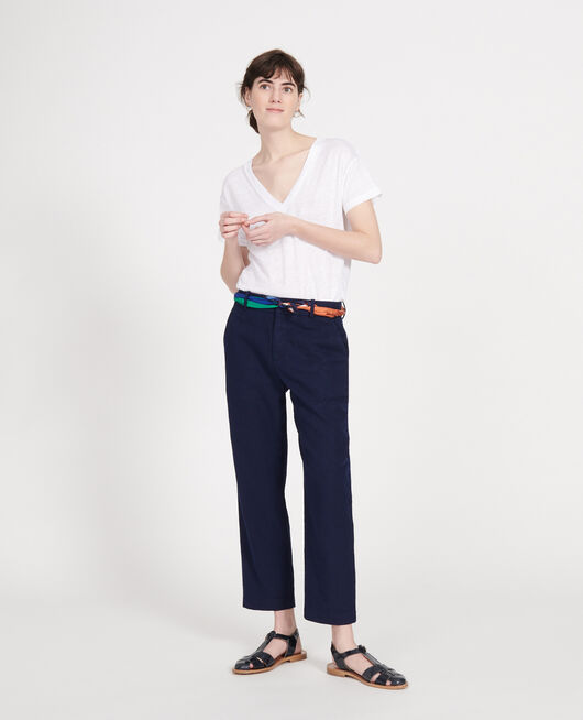 Pantalon en lin MARITIME BLUE