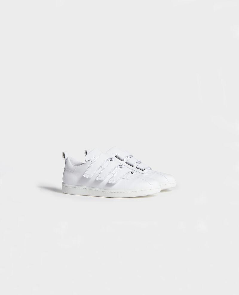 Sneaker en cuir avec pattes velcro Optical white Leader