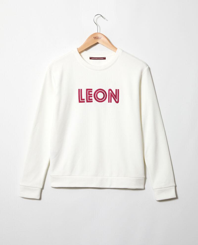 Sweatshirt brodé Léon Ow/fushia Igleon