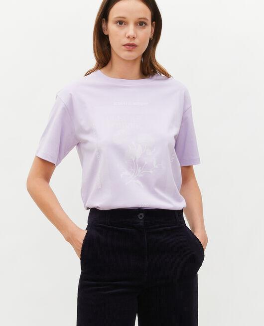T-shirt en coton manches courtes ample PASTEL LILAC