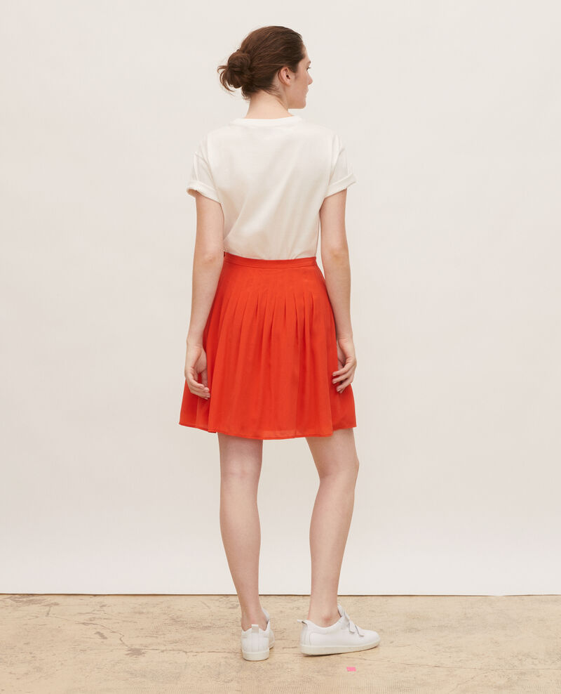 Jupe en soie courte et évasée à plis piqués Valiant poppy Monan