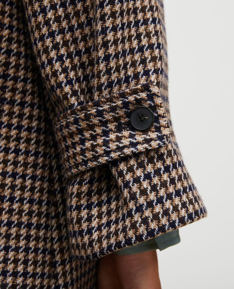 Manteau évasé en tweed de laine Houndtooth-latte Magnan