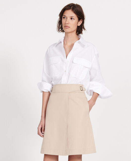 Jupe portefeuille en coton OXFORD TAN