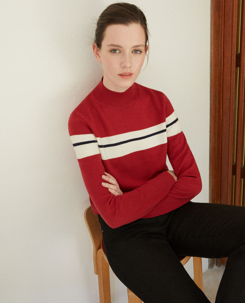 Pull en laine mérinos Rio red/off white/peacoat Gligne