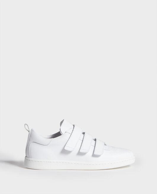 Sneakers en cuir avec pattes velcro OPTICAL WHITE