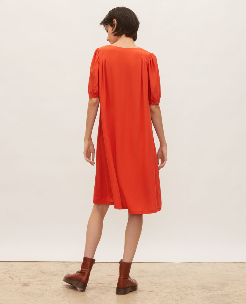 Robe longue ample fluide en soie col V Valiant poppy Manthes